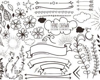 55+ hand drawn design elements set 1