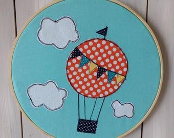 Up & Away - Hot Air Balloon Embroidery Hoop Art