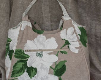 Large white lily printed linen tote bag