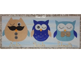 "Blue painting ""Machin thingy OWL"""