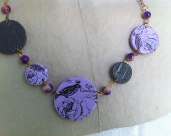 Necklace grey and purple prints birds