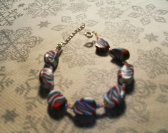 Bracelet trend, stylish, summery, original (turquoise, pink, white and Brown)