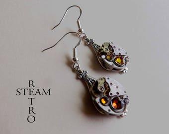Steampunk Swarovski earrings volcano - Steampunk jewelry