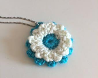 Crochet aster pendant