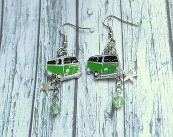 Earrings green volkswagen combi car with star, car