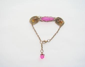 bronze Pearl chandelier drop fuchsia bracelet