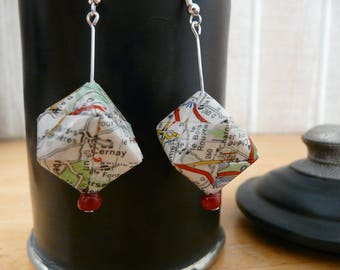 Origami earrings cube paper map