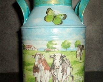Milk can, canister decorated with the technique of decoupage No. 1