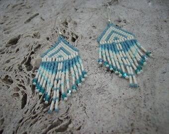 """""""Denim"""" beaded earrings"""
