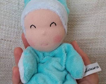 titpoupidou light blue and turquoise baby blanket