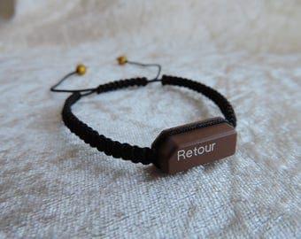"""Bracelet weave macrame """"Recyclaballa"""" touch Minitel """"Back"""" men/women bracelet"""