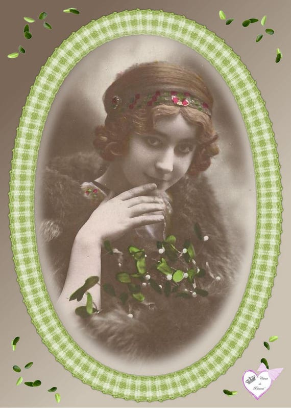 "Applied ""woman in green"" cotton twill"