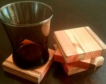 4-Peice wood coaster set