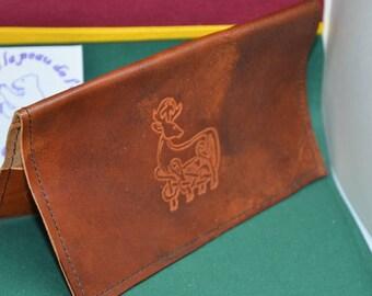 Checkbook leather Celtic deer
