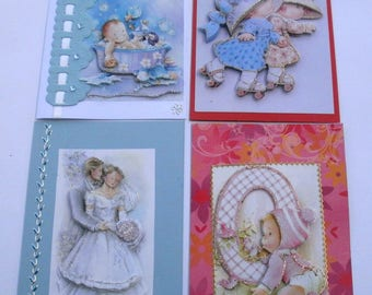 Challenge 'music and song' set of 4 cards (4) hand made 3d