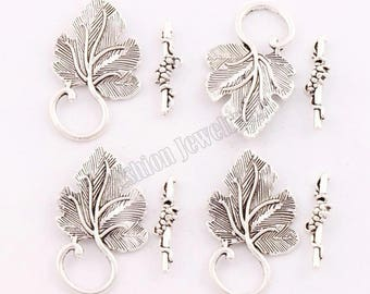 clasps T 35 * 20 mm, set of 4 silver vine leaf