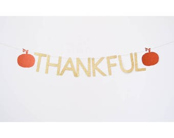 thankful banner, fall decor, fall bunting, thanksgiving banner, autumn decoration, autumn sign, gold banner, fall party pumpkin decoration
