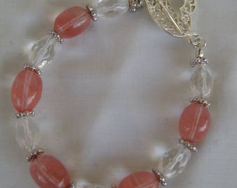 Cherry quartz and crystal quartz bracelet
