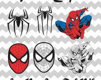Spiderman Digital Download, Clipart SVG Vector file, Spiderman Svg Clipart, Spiderman dxf, Spiderman cutfiles, Superhero clipart,