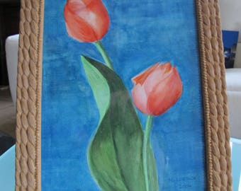 Painting of an original watercolor of tulips frame caramel