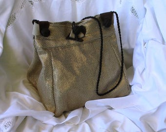 Baroque shoulder bag, Tote, black and gold upholstery fabric, Brown finishes, birthday gift.
