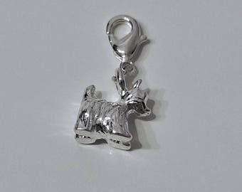 Mini dog charm, silver color