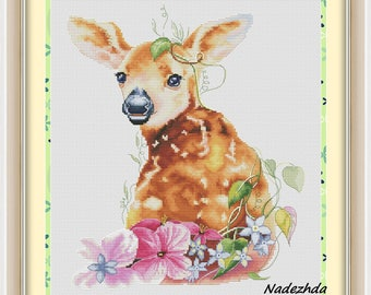Deer Cross Stitch Pattern Animal pattern Modern cross stitch pattern PDF Embroidery room wall decor