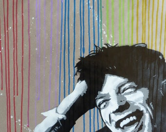 painting of Mick Jagger stencilled on paper