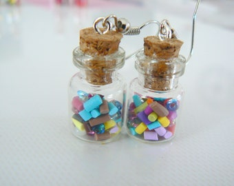 Stud Earrings with sprinkles polymer clay multicolor glass vial and rocaillle beads