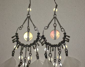 Natural opal and white feather earrings