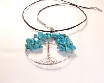 turquoise pendant necklace tree of life magnetized throat chakra