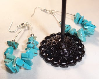 Turquoise earrings magnetised throat chakra