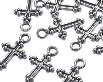 10 pendants charms cross 15x9mm