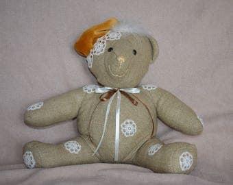 Gaspard decorative burlap bear