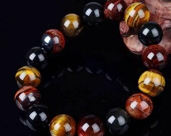 Beautiful elastic bracelet Tiger eye, Bull's eye, Hawk Eye 10 mm gemstone