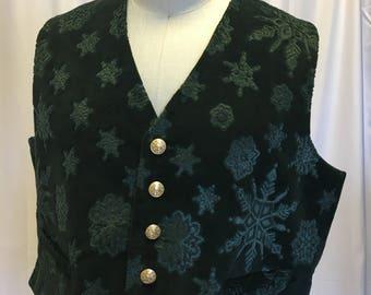 4XL -Green Velveteen Snowflake Vest