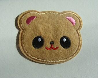 fusible applique bear 7.5 * 6.3 cm Brown ear pink