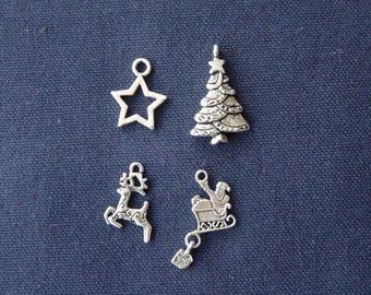 4 Christmas charms silver metal (4)