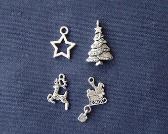 4 Christmas charms silver metal (1)