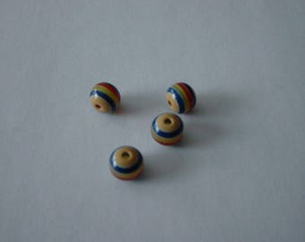 4 multicolored 10 mm striped resin beads