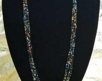 Black and multi color bead necklace