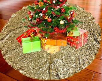 """52"""" GOLD Christmas Sequin Tree Skirt - Sparkly Glittery Sequin Xmas Tree Skirt - Made In USA"""