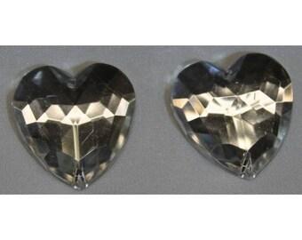 Acrylic rhinestone silver heart
