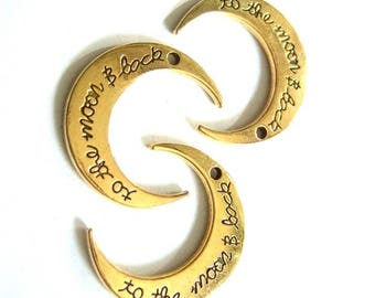 """Set of 3 pendants ' to the moon & back """"Crescent Moon brass 30x27mm #3032"""