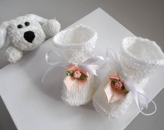 White slippers with flowers light knit wool handmade baby pink color