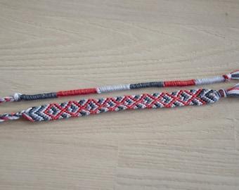 Friendship Bracelet, friendship bracelet, grey red