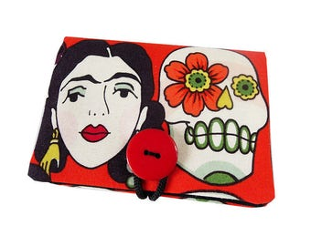 "Case / card holder ""Dia de los muertos"" mexican Frida skull fabric tissue case"