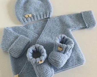 Top hat booties blue birth / 3 months