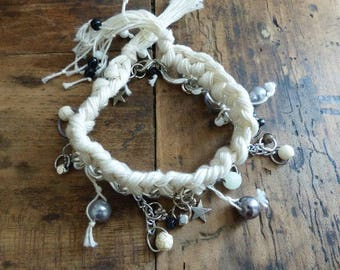 Bracelet: link chain with charms and ivory crochet