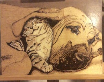"Pyrography on Basswood, ""tolérance"""